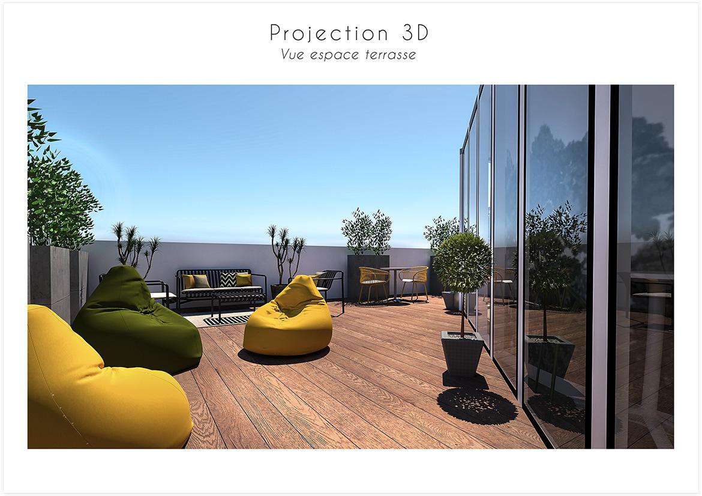 Aménagement et décoration d'une startup - Vue espace terrasse