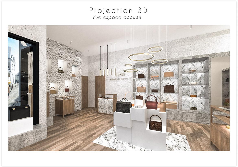 Aménagement et décoration d'une boutique de maroquinerie - Projection 3D