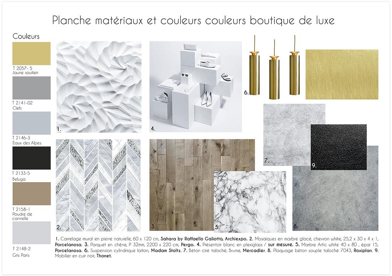 Aménagement et décoration d'une boutique de maroquinerie - Planche matériaux