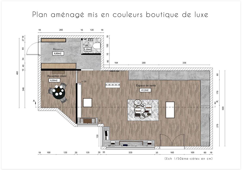 Aménagement et décoration d'une boutique de maroquinerie - Plan aménagé