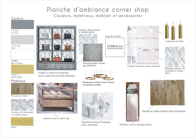 Aménagement et décoration d'une boutique de maroquinerie - Planche d'ambiance