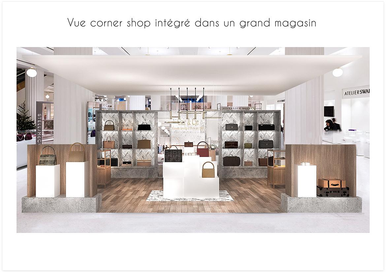 Aménagement et décoration d'une boutique de maroquinerie - Vue corner shop