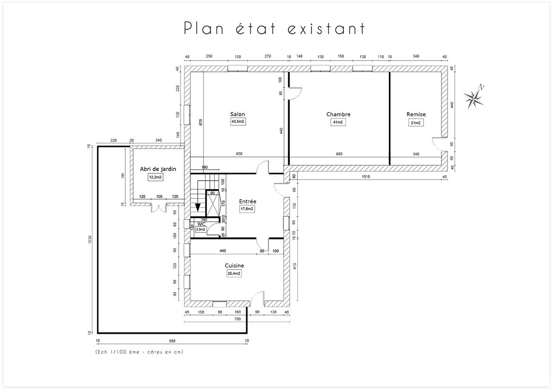 Aménagement et décoration d'une maison de campagne près d'Aix en Provence - Plan état existant