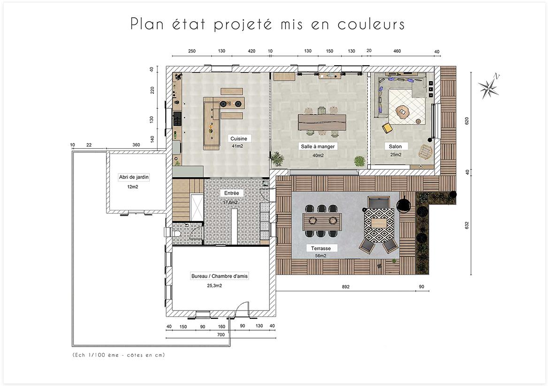 Aménagement et décoration d'une maison de campagne près d'Aix en Provence - Plan état projeté