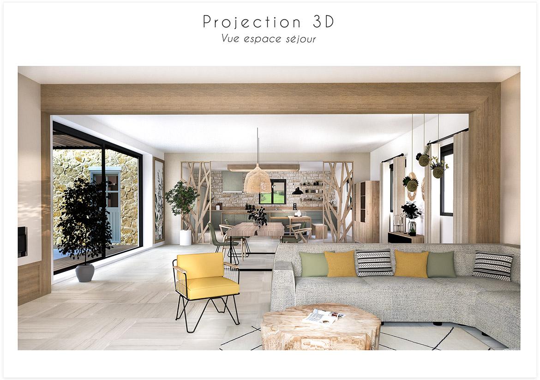 Aménagement et décoration d'une maison de campagne près d'Aix en Provence - Projection 3D