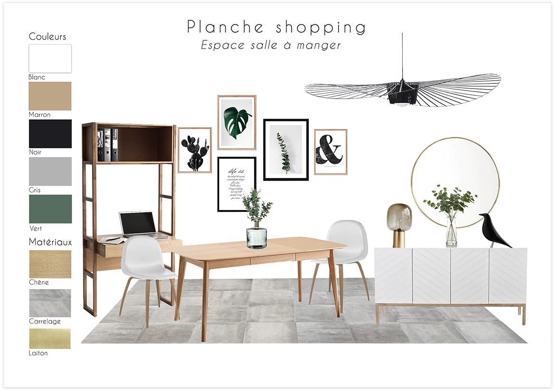 Aménagement et décoration d'un séjour - Planche shopping