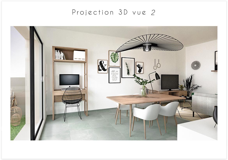 Aménagement et décoration d'un séjour - Projection 3D