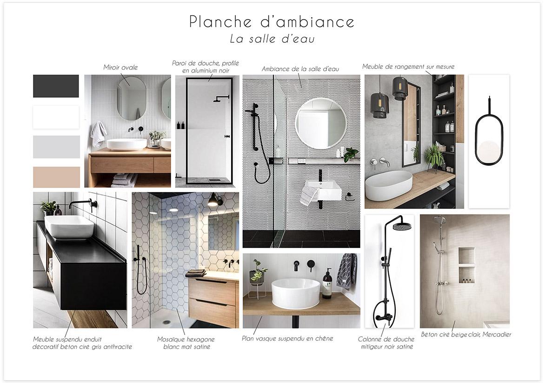 Rénovation et optimisation d'une salle d'eau - Planche d'ambiance