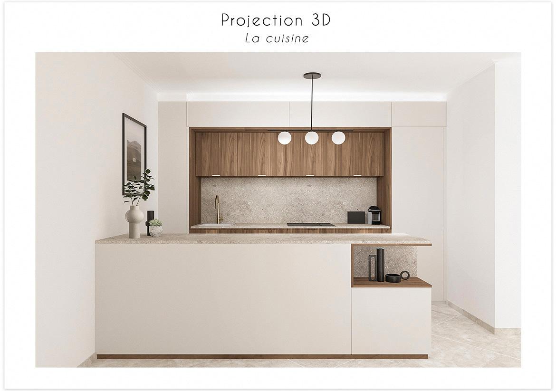 Perspective 3D vue sur la cuisine