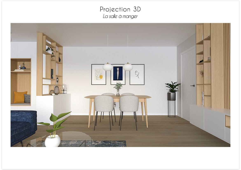 Projection 3D vue sur la salle à manger