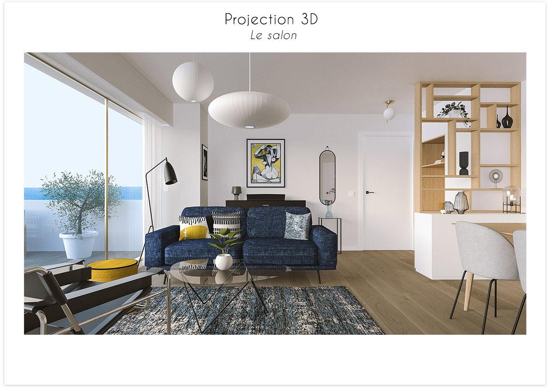 Projection 3D vue salon 1