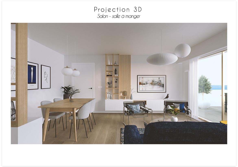 Projection 3D vue salon salle à manger