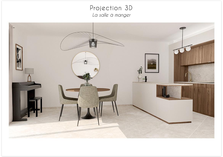 Projection 3D vue sur la cuisine